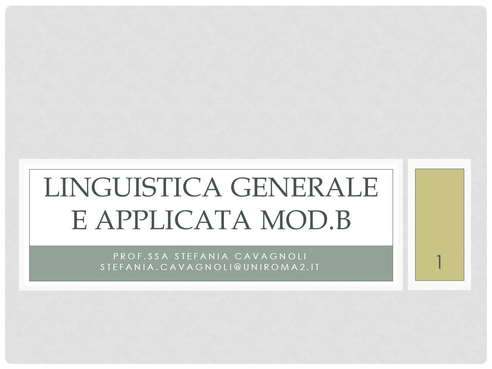 Linguistica generale e applicata mod.B