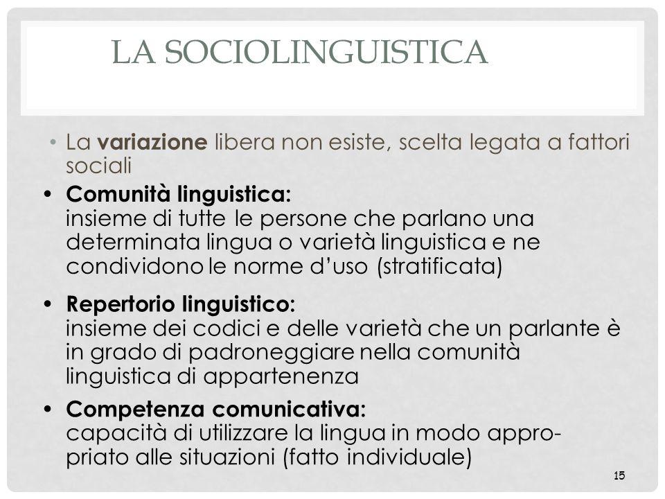 La sociolinguistica La variazione libera non esiste, scelta legata a fattori sociali.