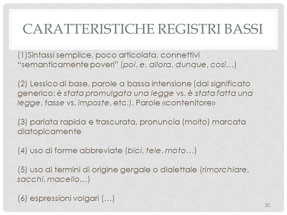 Caratteristiche registri bassi