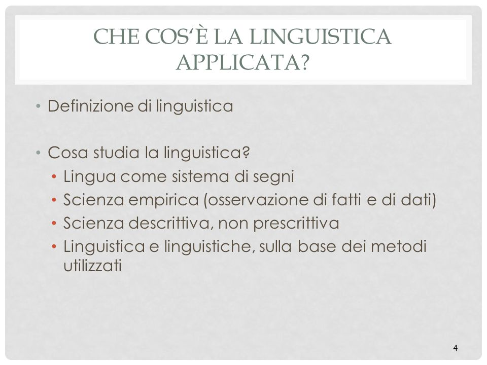 CHE COS'È LA LINGUISTICA APPLICATA