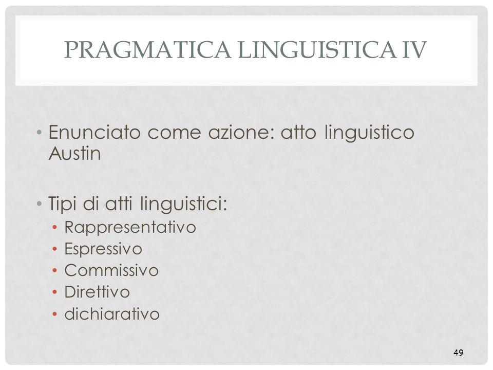 Pragmatica linguistica IV