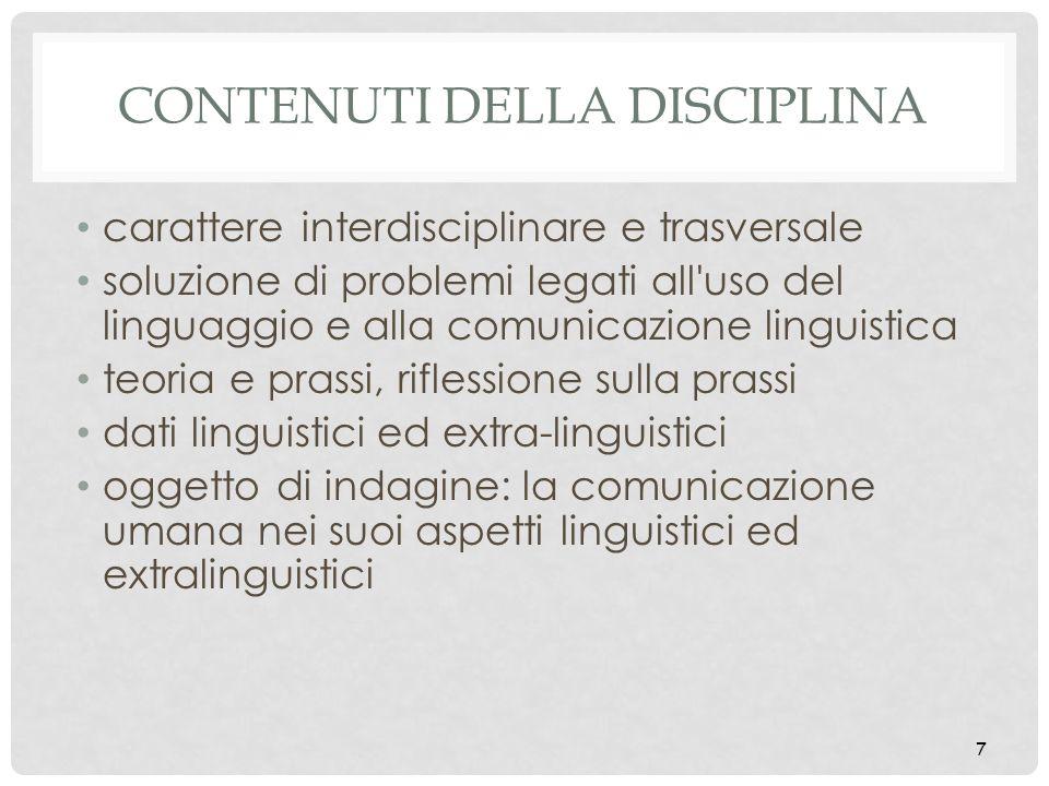 Contenuti della disciplina