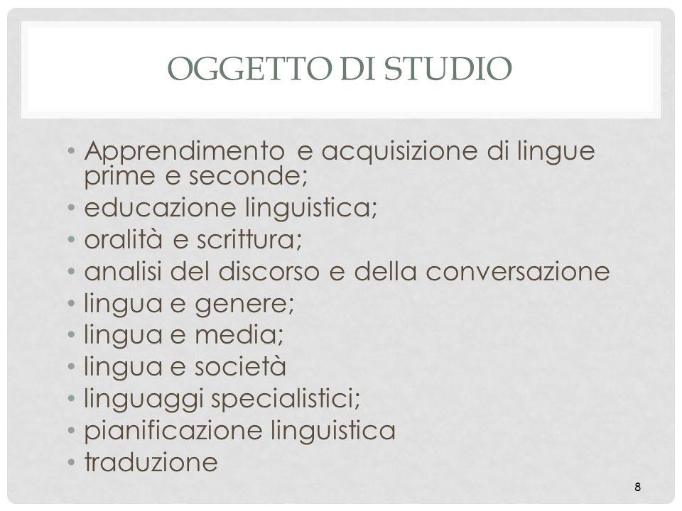 Oggetto di studio Apprendimento e acquisizione di lingue prime e seconde; educazione linguistica; oralità e scrittura;