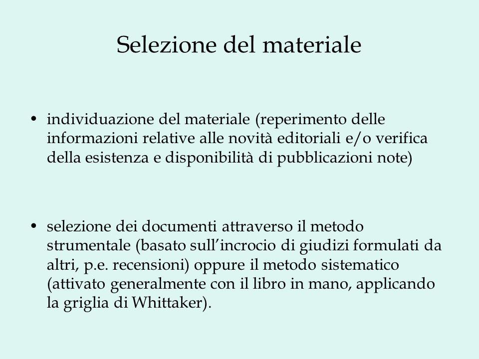 Selezione del materiale