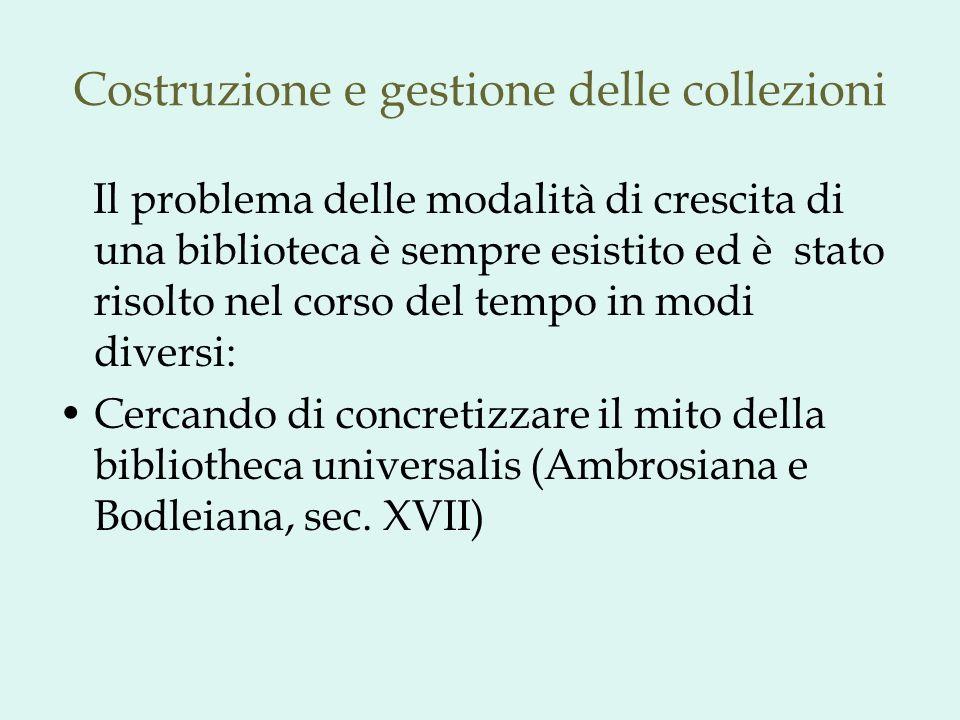 Costruzione e gestione delle collezioni