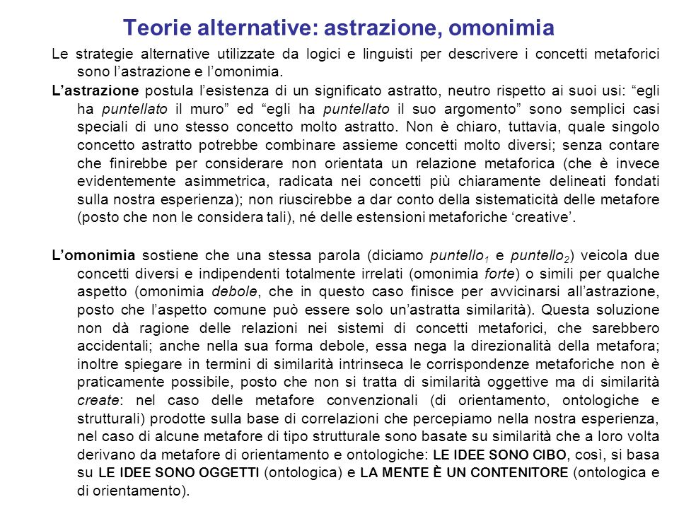Teorie alternative: astrazione, omonimia
