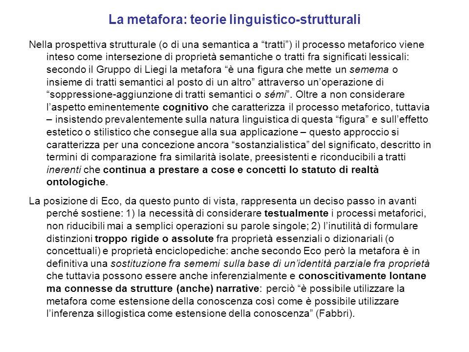 La metafora: teorie linguistico-strutturali