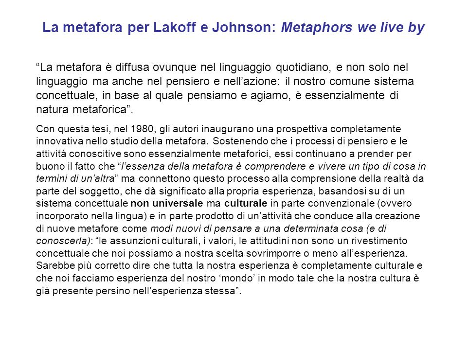 La metafora per Lakoff e Johnson: Metaphors we live by