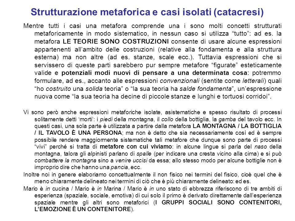 Strutturazione metaforica e casi isolati (catacresi)