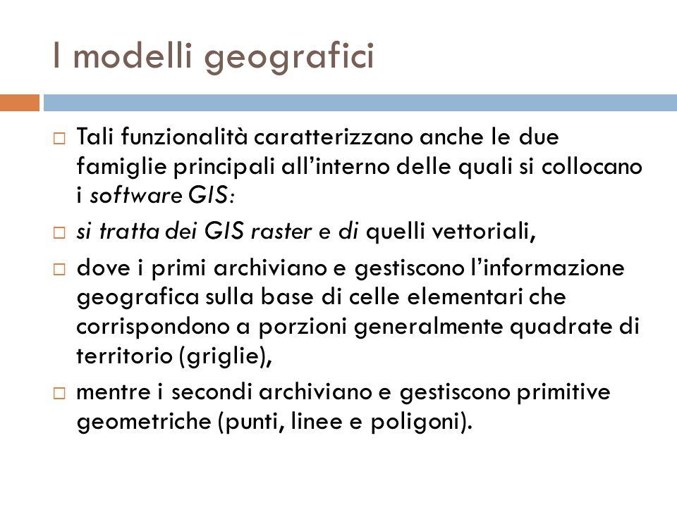I modelli geografici Tali funzionalità caratterizzano anche le due famiglie principali all'interno delle quali si collocano i software GIS: