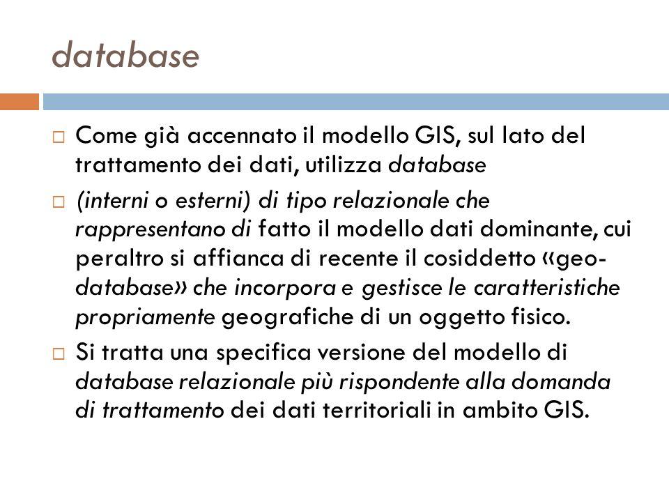 database Come già accennato il modello GIS, sul lato del trattamento dei dati, utilizza database.