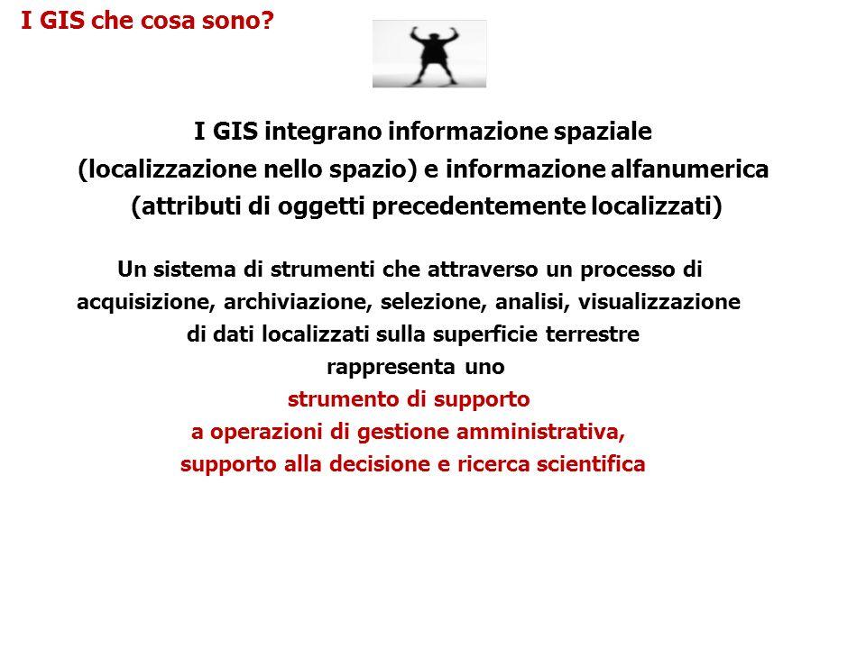 I GIS integrano informazione spaziale