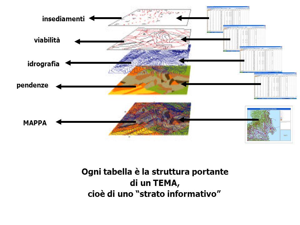 Ogni tabella è la struttura portante cioè di uno strato informativo