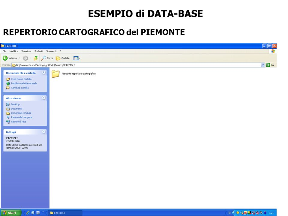ESEMPIO di DATA-BASE REPERTORIO CARTOGRAFICO del PIEMONTE