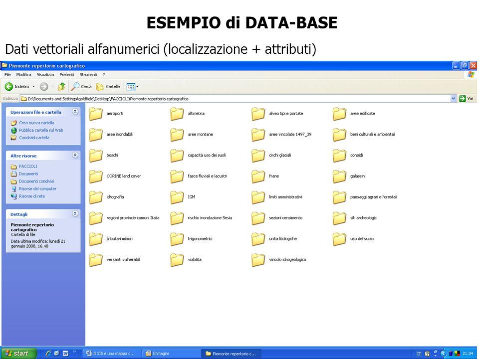 ESEMPIO di DATA-BASE Dati vettoriali alfanumerici (localizzazione + attributi)