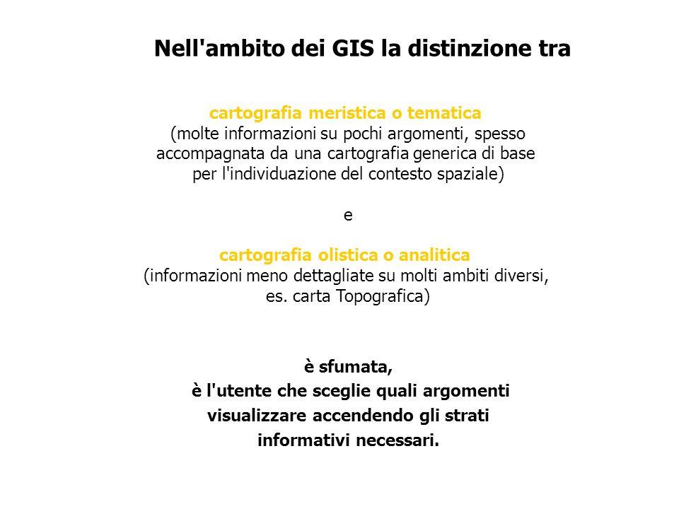 Nell ambito dei GIS la distinzione tra