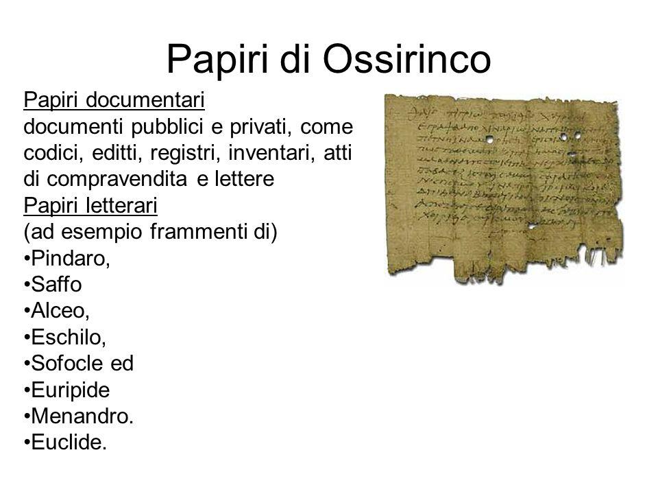 Papiri di Ossirinco Papiri documentari