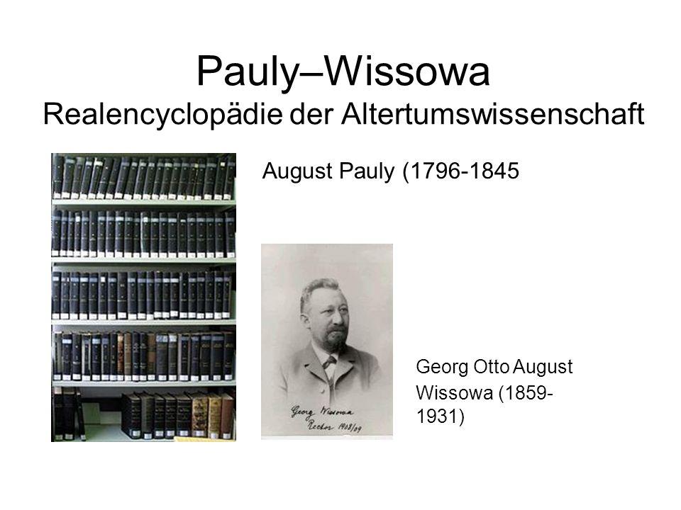Pauly–Wissowa Realencyclopädie der Altertumswissenschaft