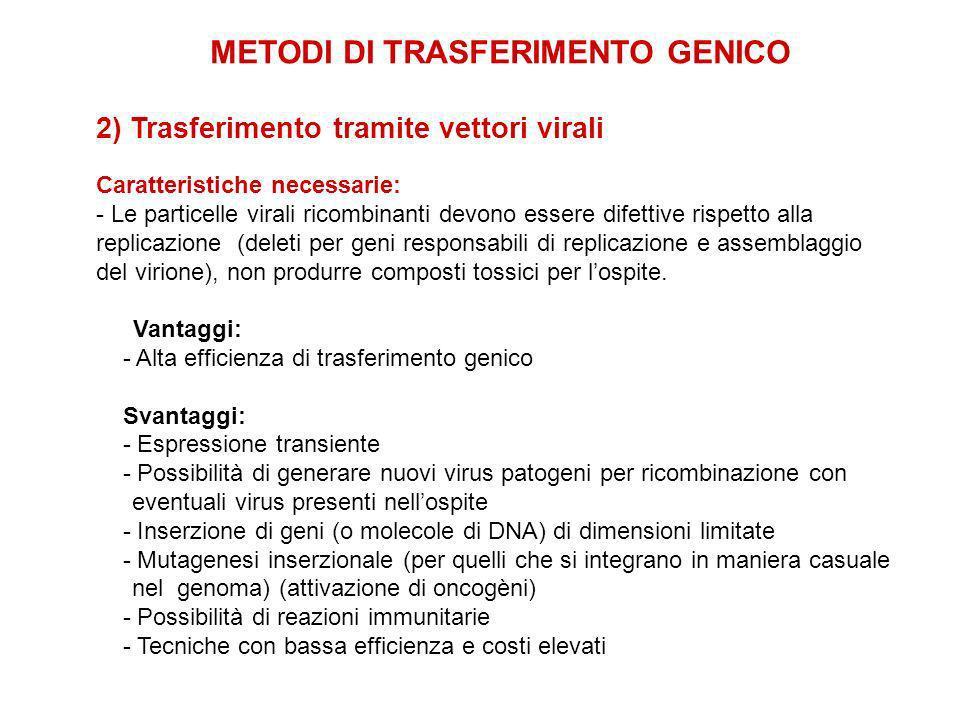METODI DI TRASFERIMENTO GENICO