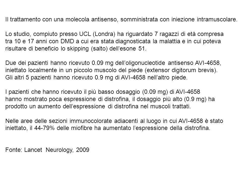 Il trattamento con una molecola antisenso, somministrata con iniezione intramuscolare. Lo studio, compiuto presso UCL (Londra) ha riguardato 7 ragazzi di età compresa