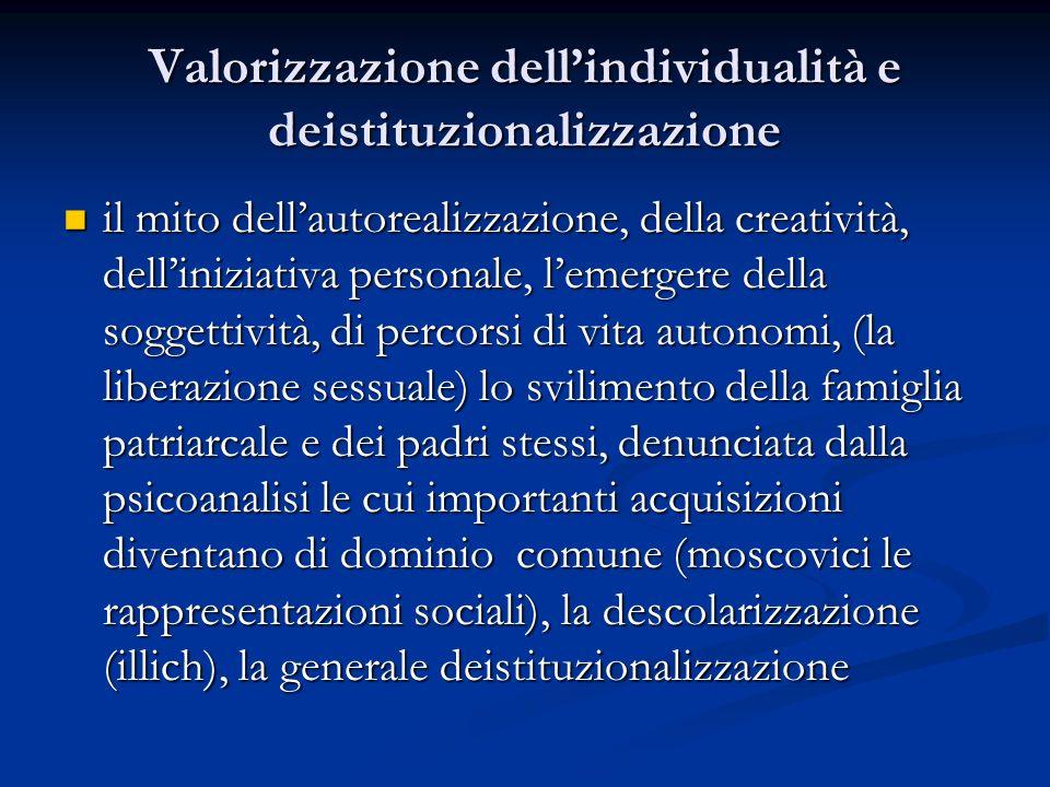 Valorizzazione dell'individualità e deistituzionalizzazione