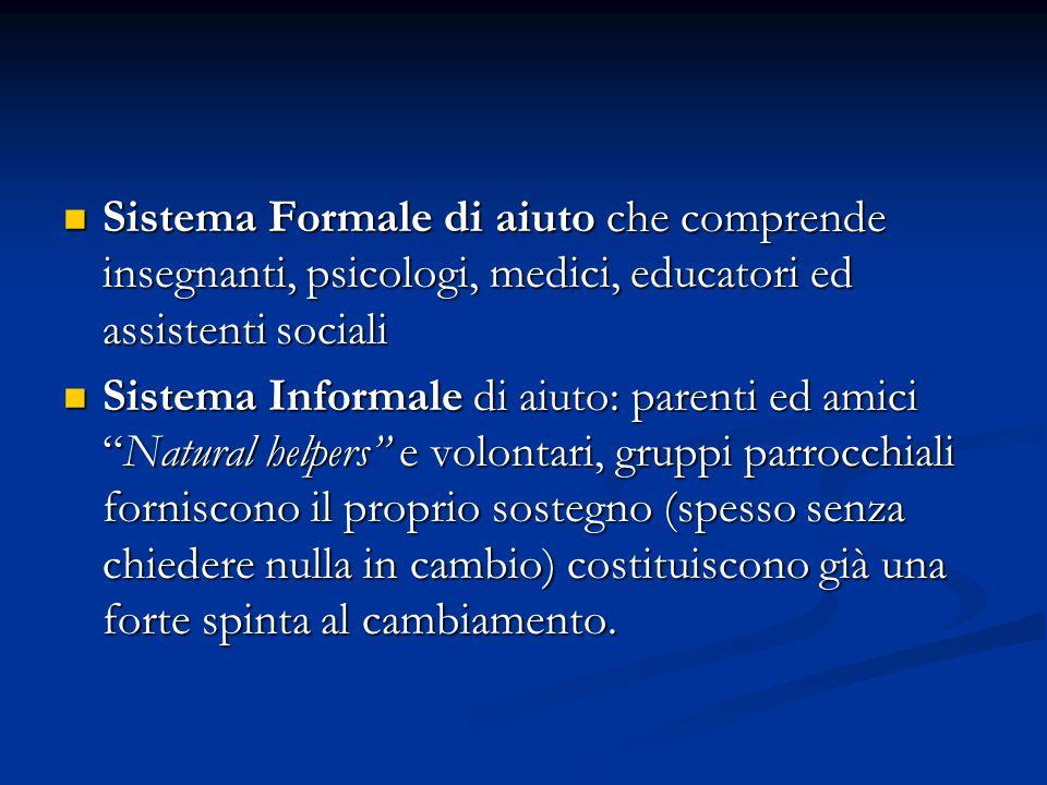 Sistema Formale di aiuto che comprende insegnanti, psicologi, medici, educatori ed assistenti sociali