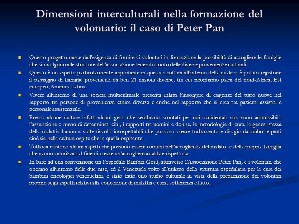 Dimensioni interculturali nella formazione del volontario: il caso di Peter Pan