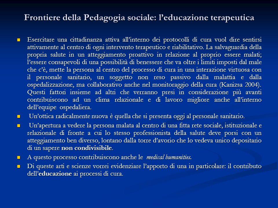 Frontiere della Pedagogia sociale: l'educazione terapeutica