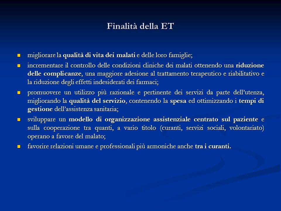 Finalità della ET migliorare la qualità di vita dei malati e delle loro famiglie;