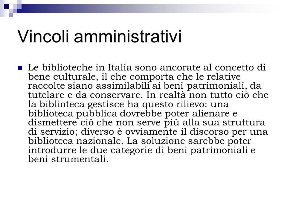 Vincoli amministrativi