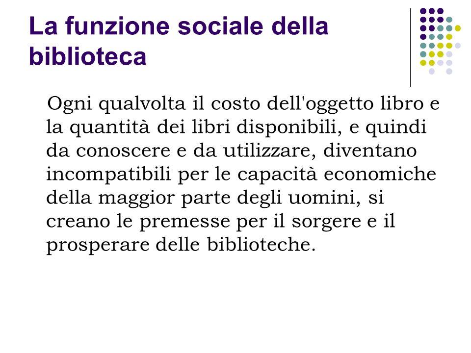 La funzione sociale della biblioteca