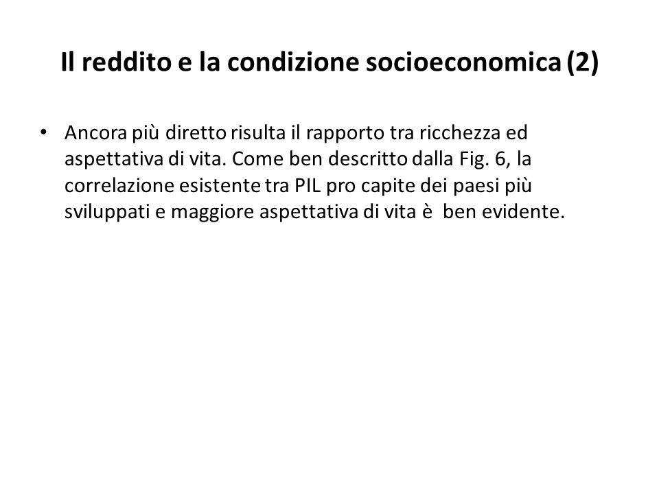 Il reddito e la condizione socioeconomica (2)