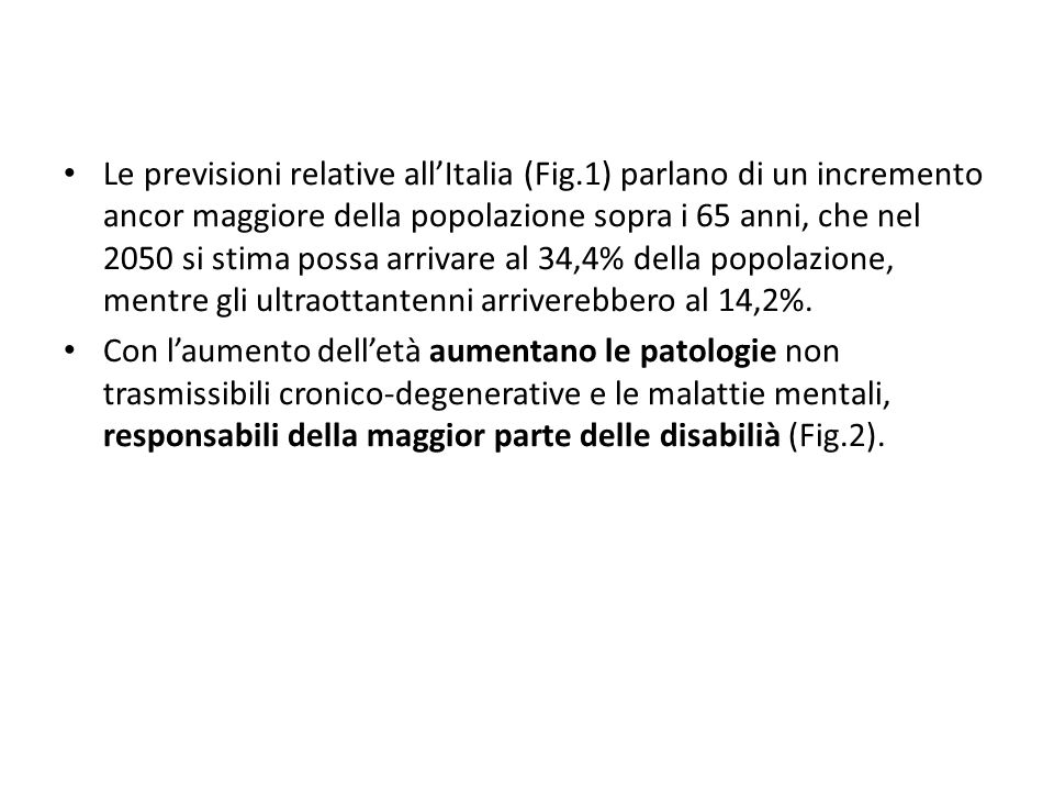 Le previsioni relative all'Italia (Fig
