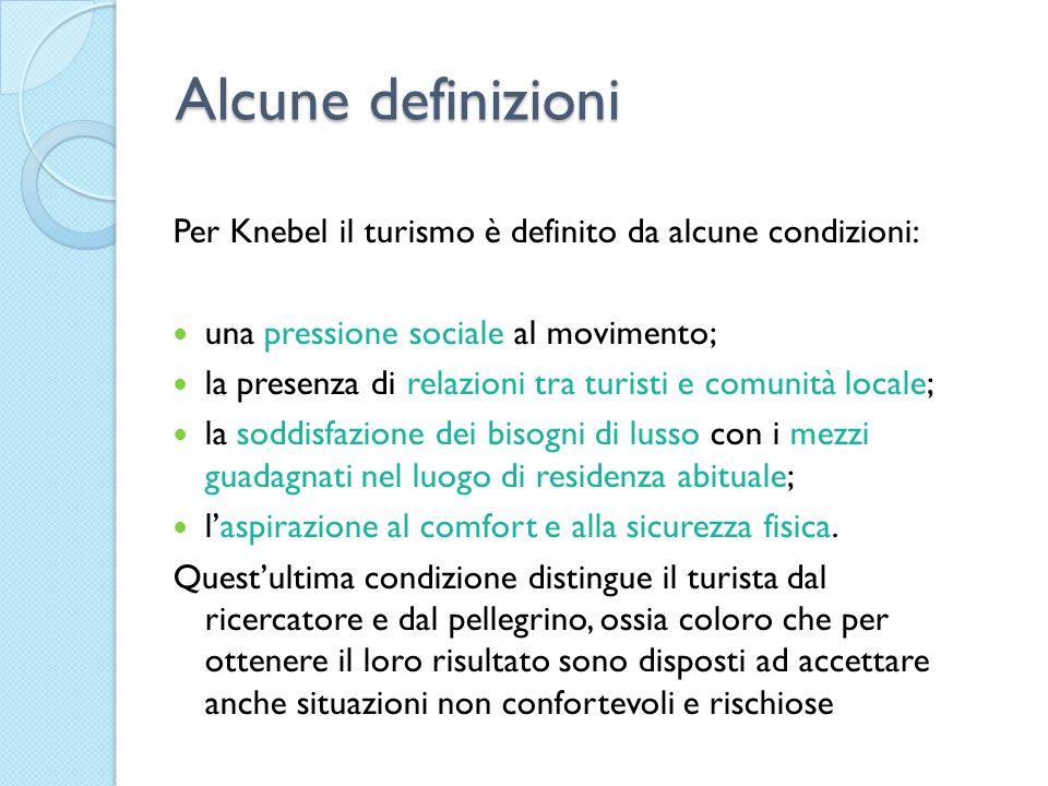 Alcune definizioni Per Knebel il turismo è definito da alcune condizioni: una pressione sociale al movimento;