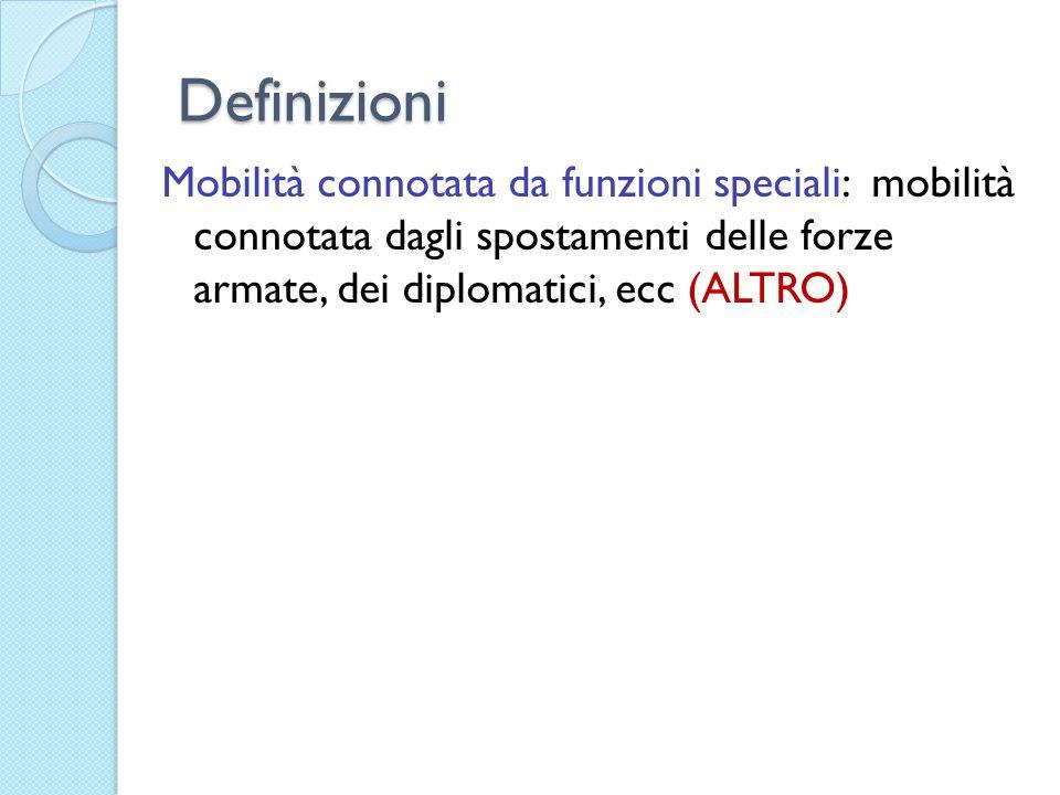 DefinizioniMobilità connotata da funzioni speciali: mobilità connotata dagli spostamenti delle forze armate, dei diplomatici, ecc (ALTRO)