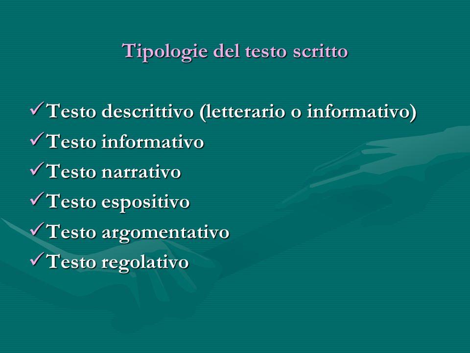 Tipologie del testo scritto