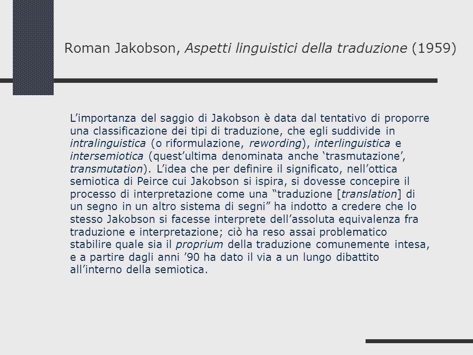Roman Jakobson, Aspetti linguistici della traduzione (1959)