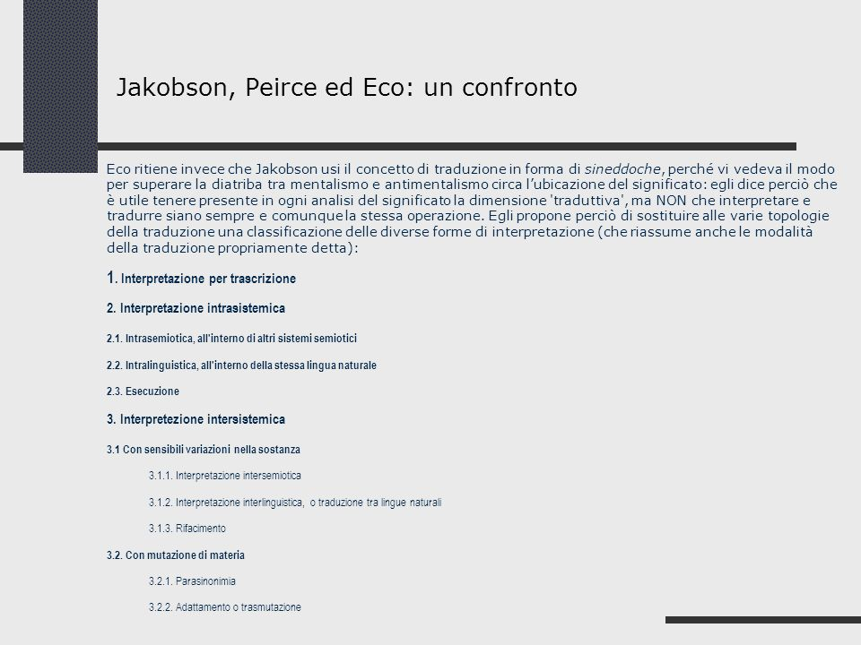Jakobson, Peirce ed Eco: un confronto
