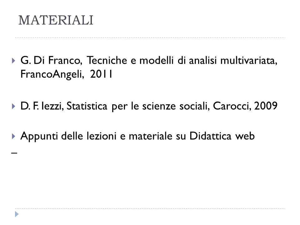 MATERIALI G. Di Franco, Tecniche e modelli di analisi multivariata, FrancoAngeli, 2011.