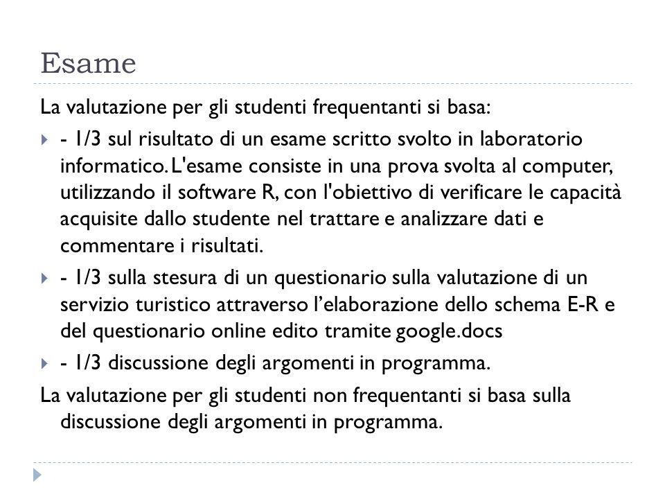 Esame La valutazione per gli studenti frequentanti si basa: