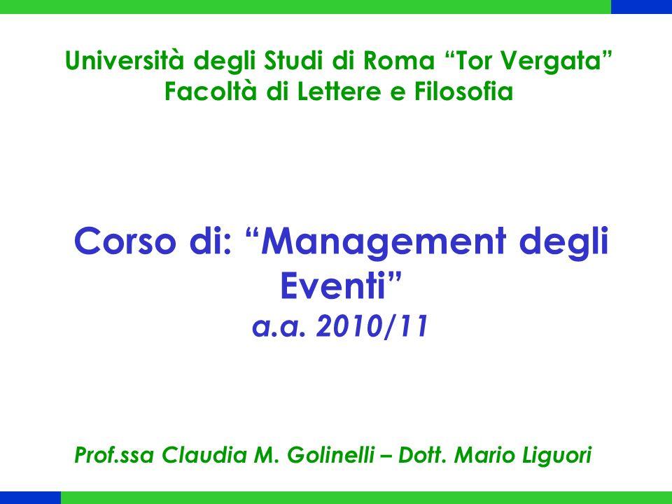 Corso di: Management degli Eventi a.a. 2010/11