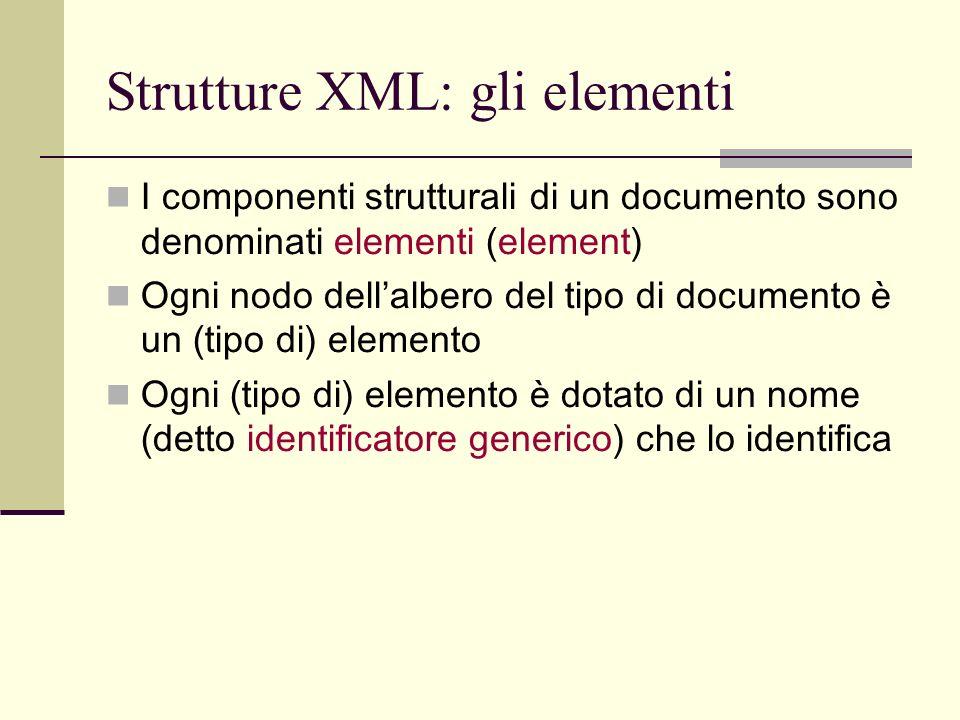 Strutture XML: gli elementi