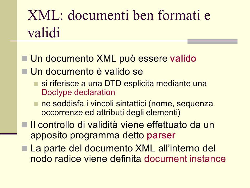XML: documenti ben formati e validi