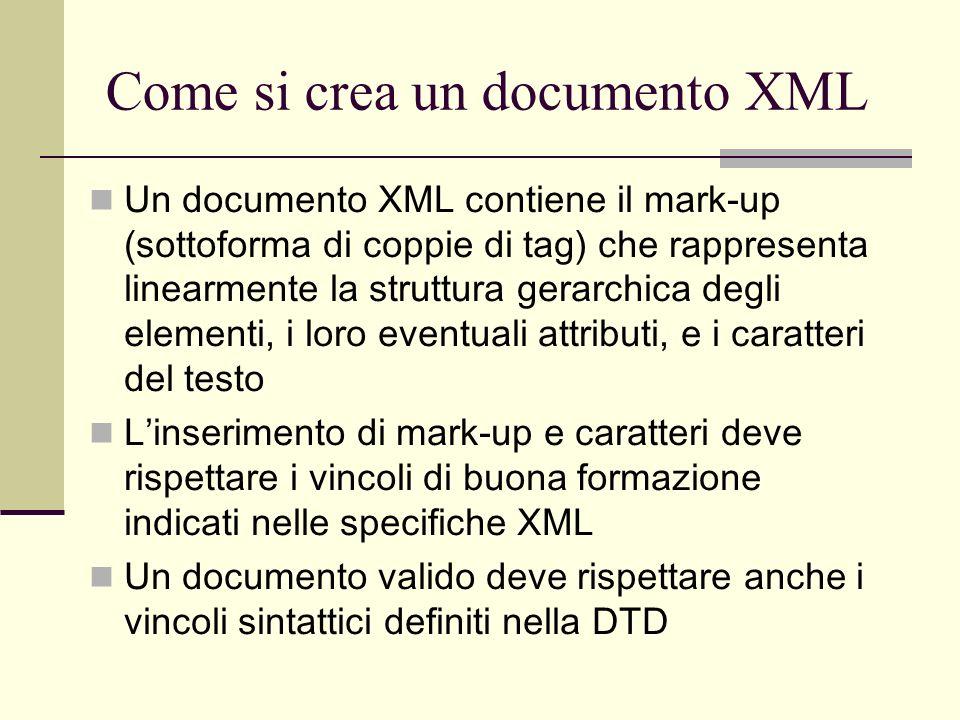 Come si crea un documento XML
