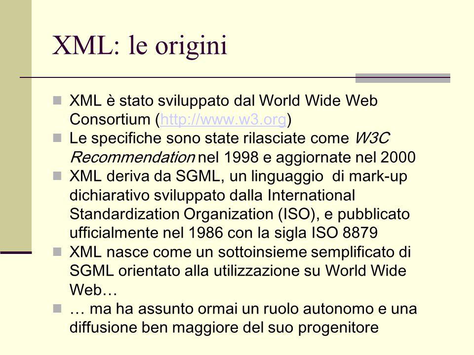 XML: le origini XML è stato sviluppato dal World Wide Web Consortium (http://www.w3.org)