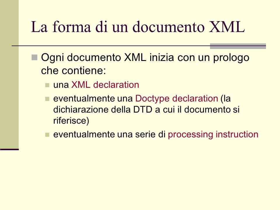 La forma di un documento XML
