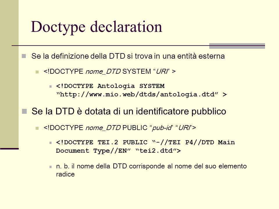 Doctype declaration Se la DTD è dotata di un identificatore pubblico
