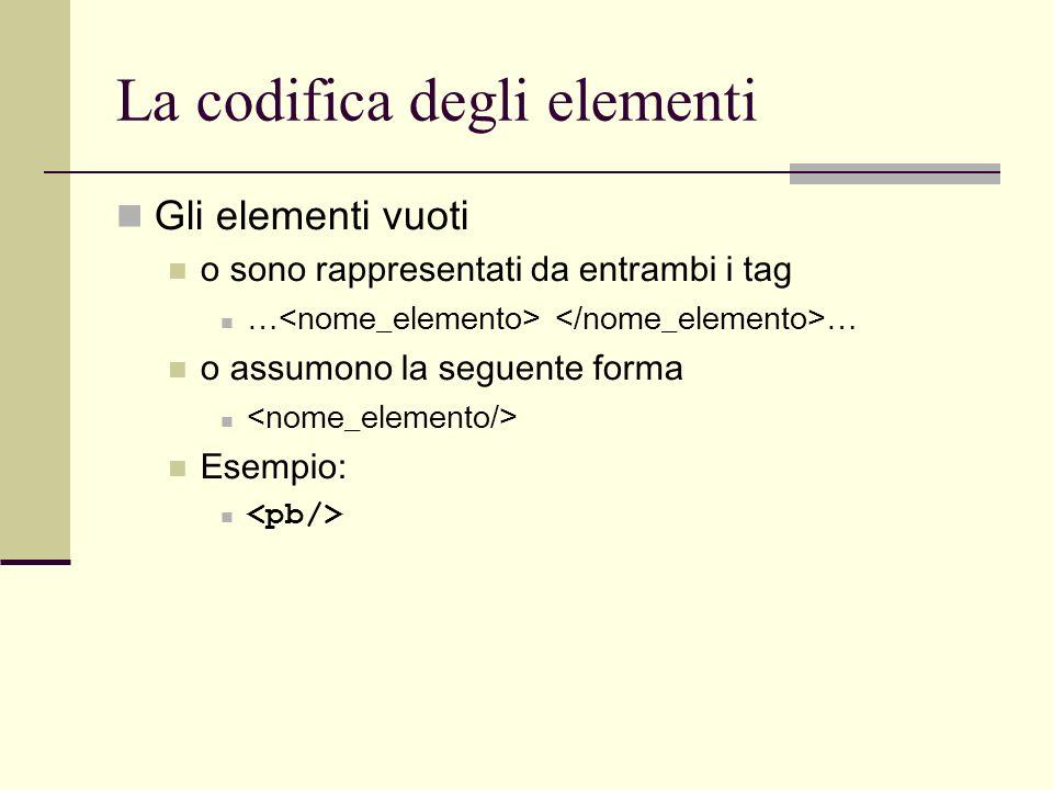 La codifica degli elementi