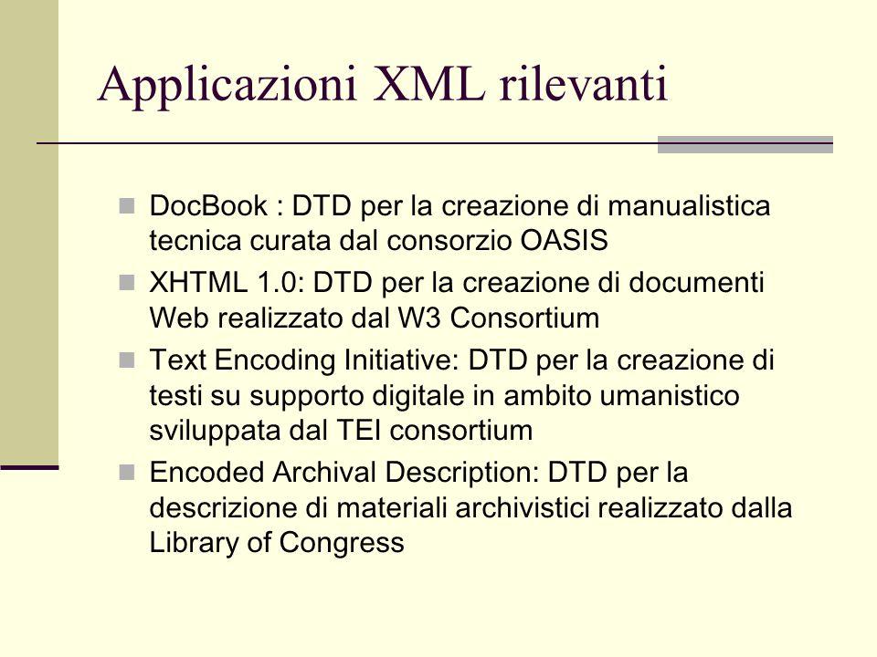Applicazioni XML rilevanti