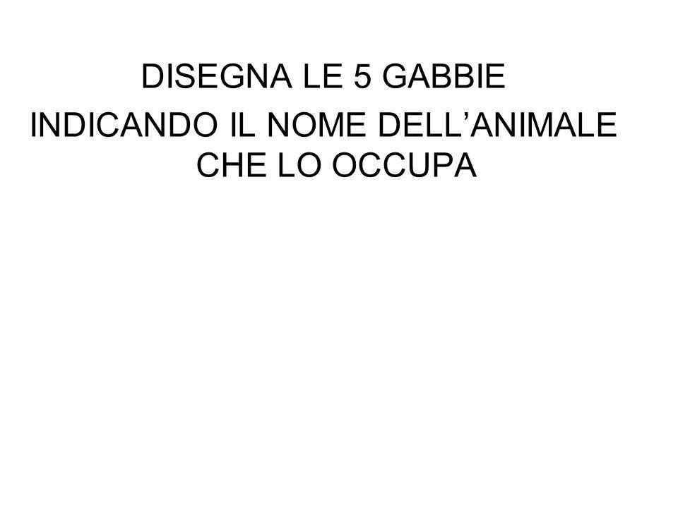 INDICANDO IL NOME DELL'ANIMALE CHE LO OCCUPA